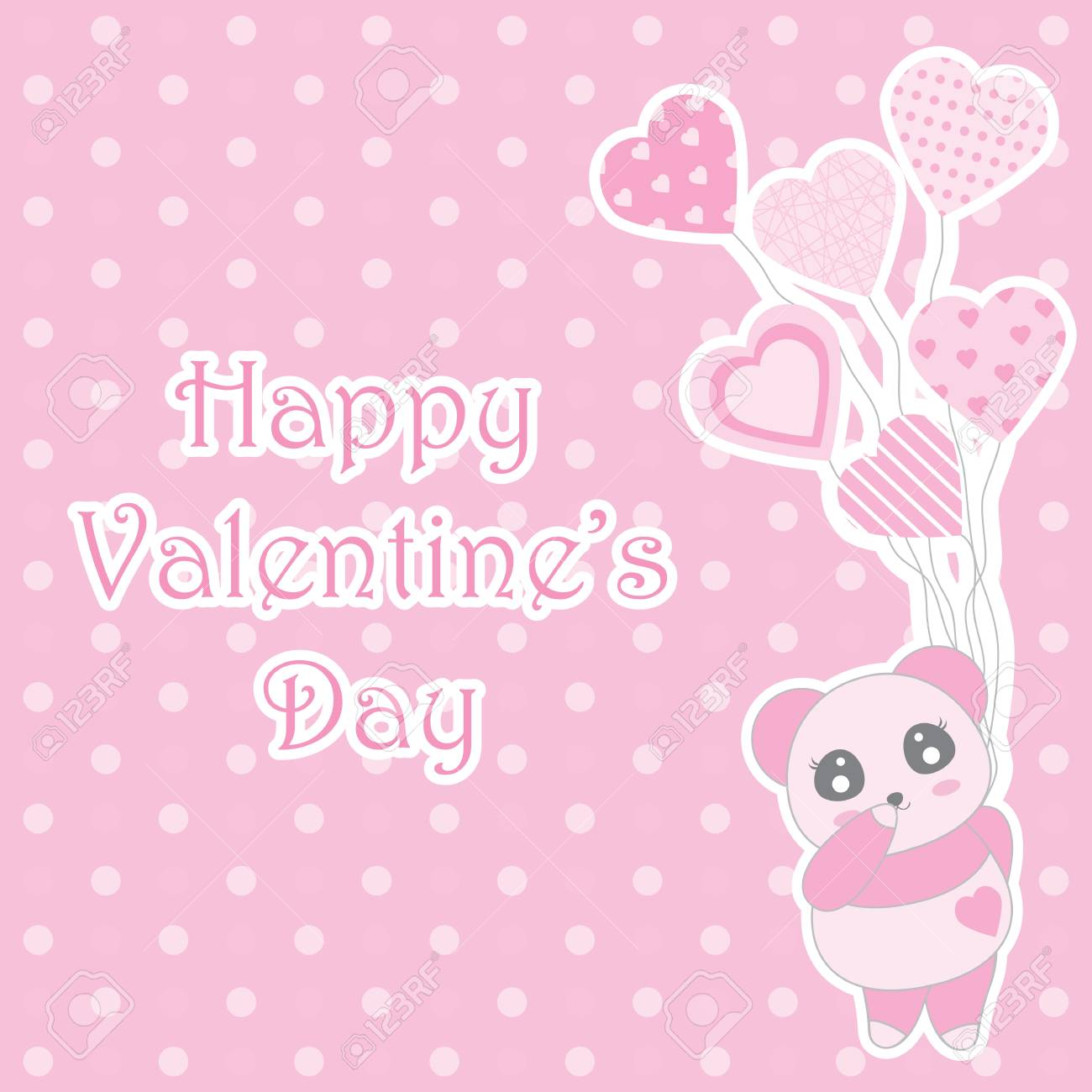 Valentines Day Illustration With Cute Baby Pink Panda Brings Balloons On Polka Dot Background Suitable For