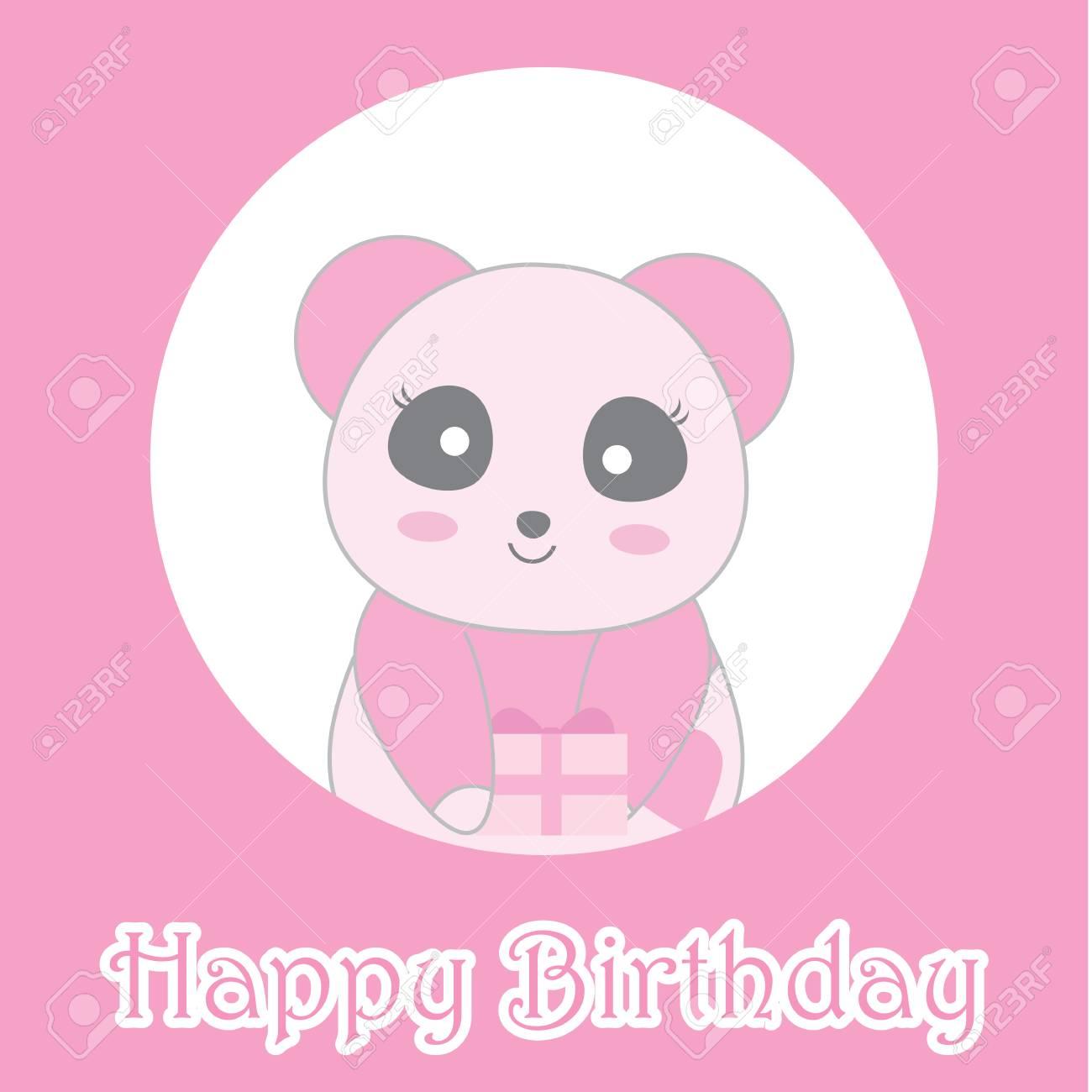 Illustration Danniversaire Avec Mignon Bébé Panda Rose Sur Cadre De Cercle Approprié Pour Carte Dinvitation Anniversaire Carte De Voeux Et