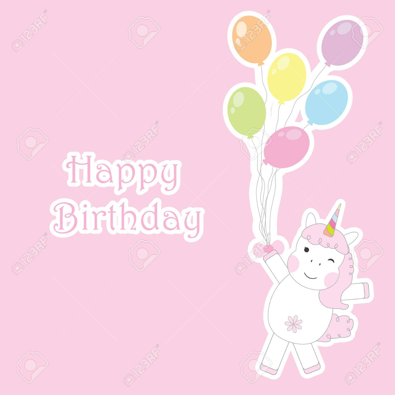 Birthday Card With Cute Unicorns Brings Colorful Balloons Suitable For Greeting Postcard And