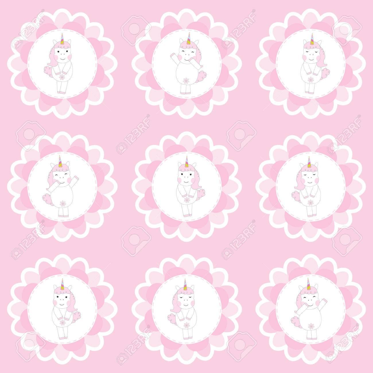 Cumpleaños Cupcake Topper Con Cute Unicornios En Flores Marco ...