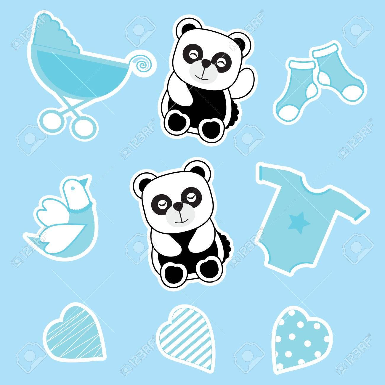 468ecf6b1 Baby Shower Sticker Set With Baby Panda