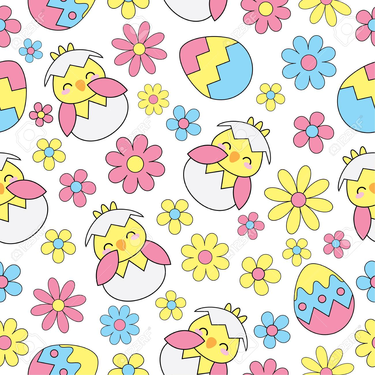 Easter Seamless Background With Cute Chick Eggs And Flowers
