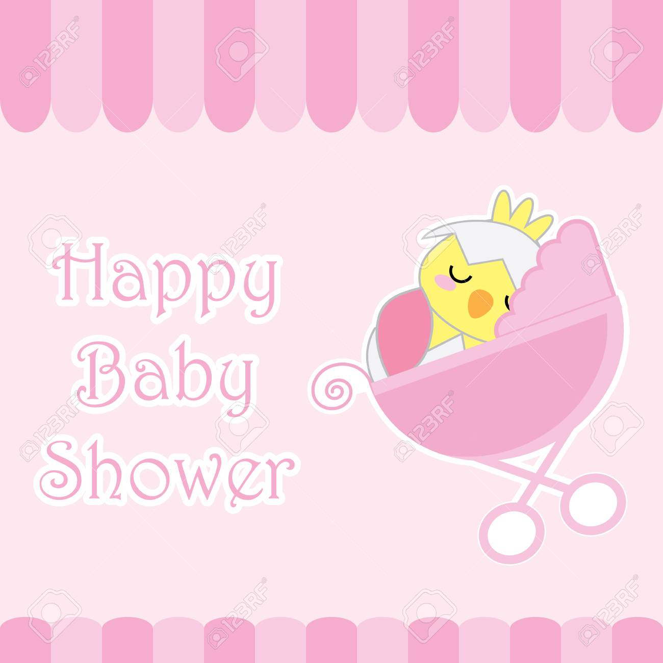 Baby Shower Card With Cute Chick On Baby Cart Suitable For Baby