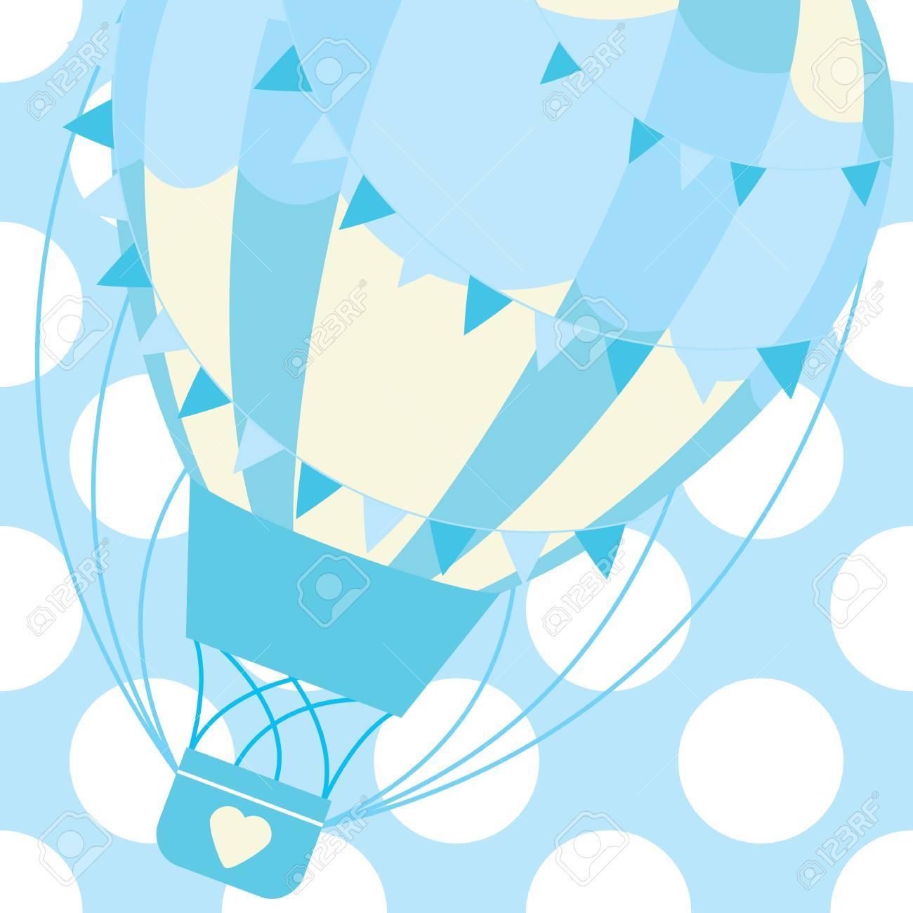 Ilustración De Vector De Diseño De Tarjeta De Ducha De Bebé De Lindo Globo Aerostático Azul Sobre Fondo De Lunares Para Tarjeta De Invitación De Bebé