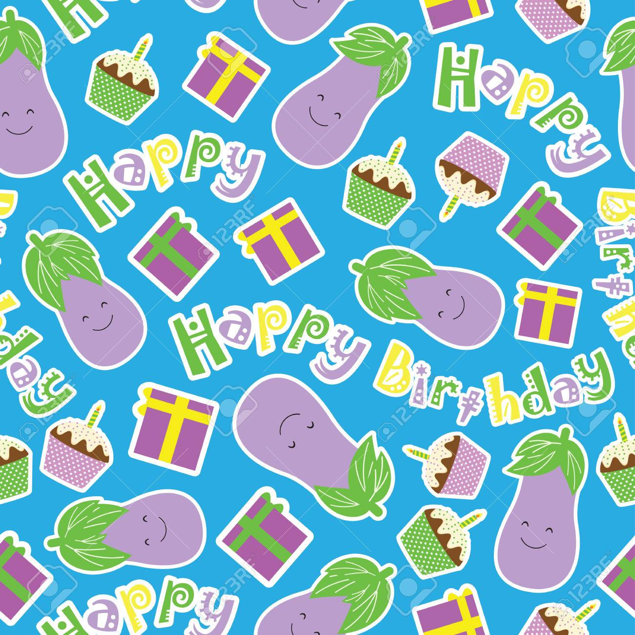 Seamless Pattern Vector Cartoon With Cute Eggplant Birthday