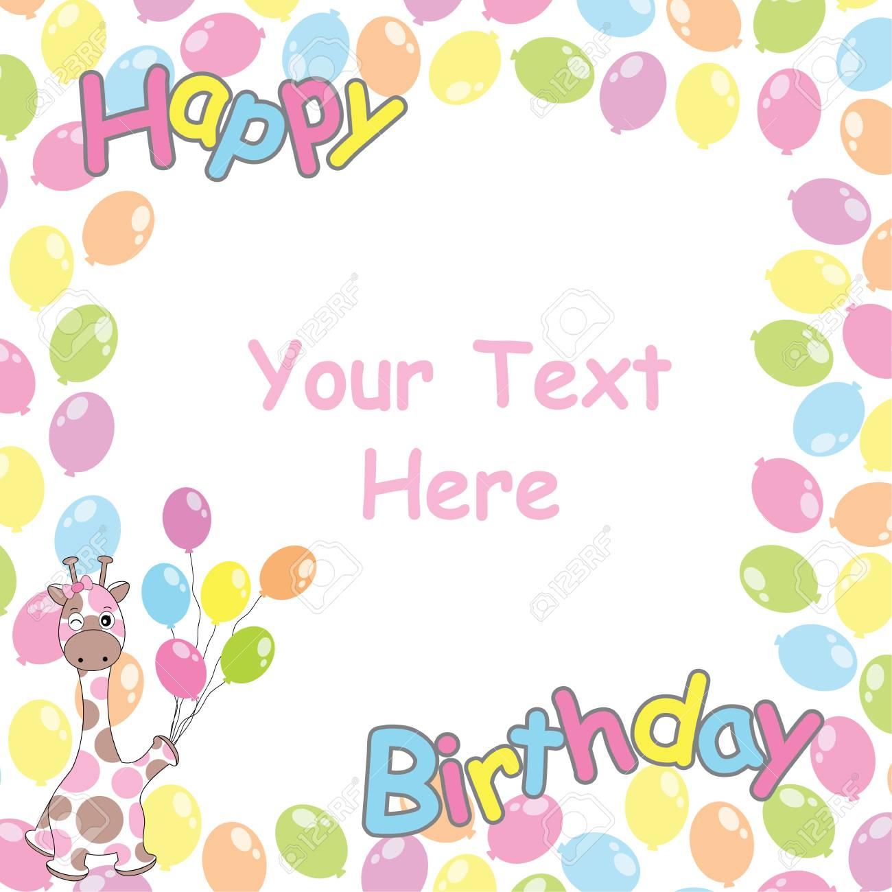 carte d'anniversaire avec jolie girafe et cadre de ballons adapté