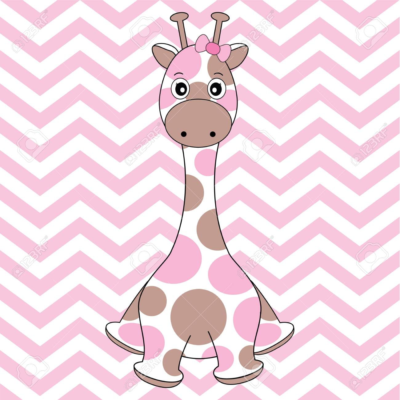 Baby Shower Card With Cute Giraffe On Chevron Background Suitable For Nursery Wall