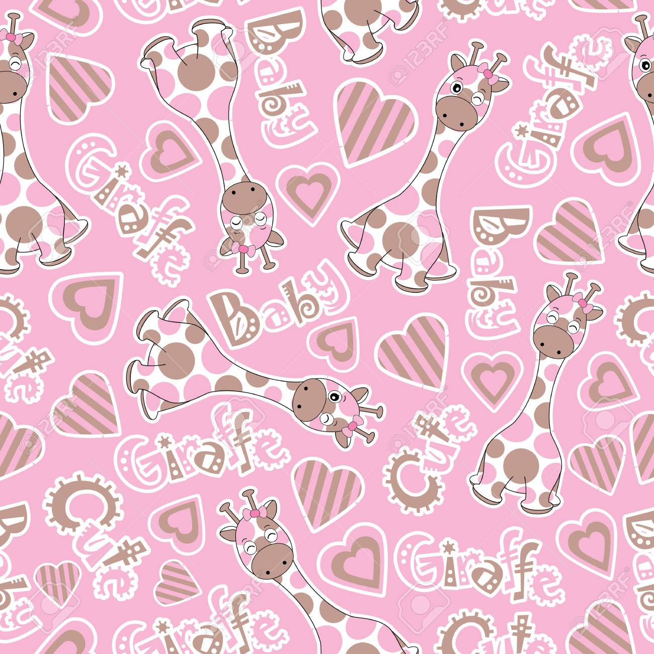 Baby Shower Seamless Pattern With Cute Baby Giraffe On Pink Background Royalty Free Cliparts Vectors And Stock Illustration Image 74551489