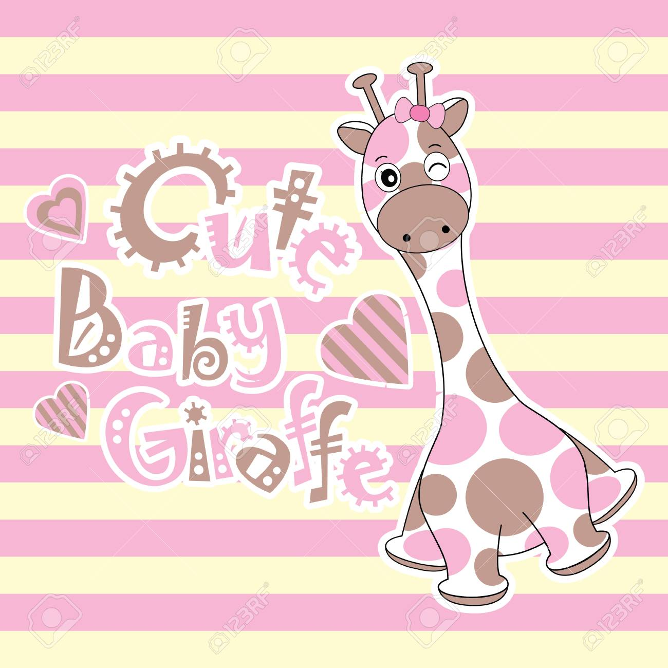 Baby Shower Card With Cute Baby Giraffe On Stripes Background