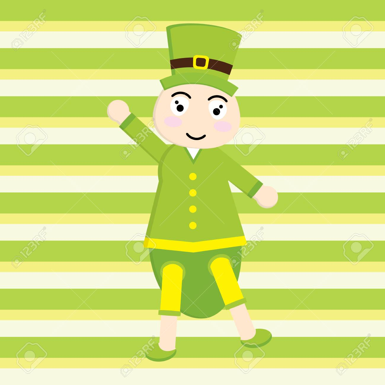 St Patrick Day S Card With Cute Ant Cartoon On Stripes Background