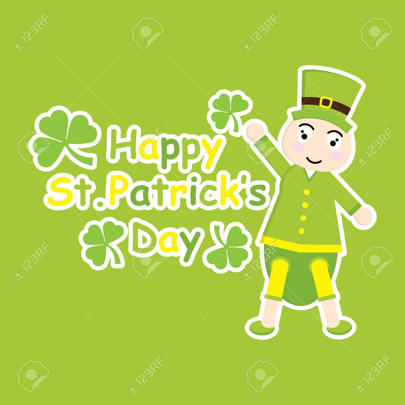 St Patrick Day S Card With Cute Ant Cartoon And Shamrock Leaves