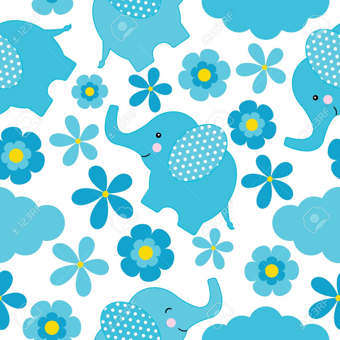 Baby shower seamless pattern with cute elephant and flowers suitable baby shower seamless pattern with cute elephant and flowers suitable for wallpaper scrap paper mightylinksfo