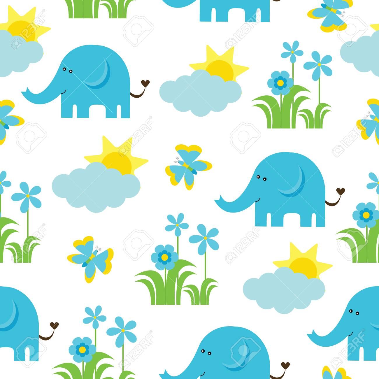 Modele Sans Couture De Douche De Bebe Avec Elephant Mignon Papillon Fleurs Et Soleil Approprie Comme Fond D Ecran Papier Brouillon Et Carte