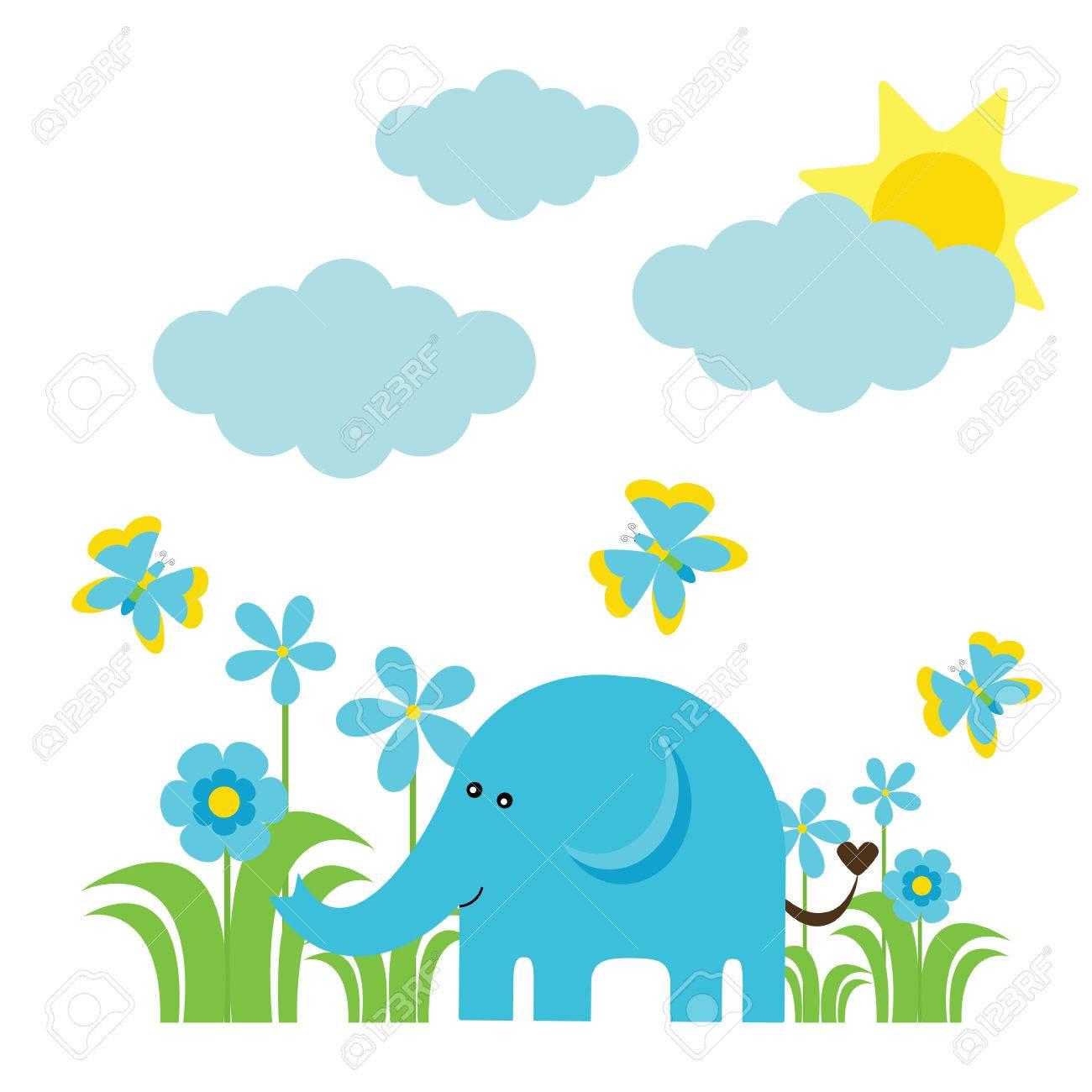 Good Wallpaper Cartoon Elephant - 74565636-cartoon-vector-of-cute-elephant-flowers-butterfly-and-sun-suitable-for-baby-nursery-wall-wallpaper-a  Gallery_801392  .jpg