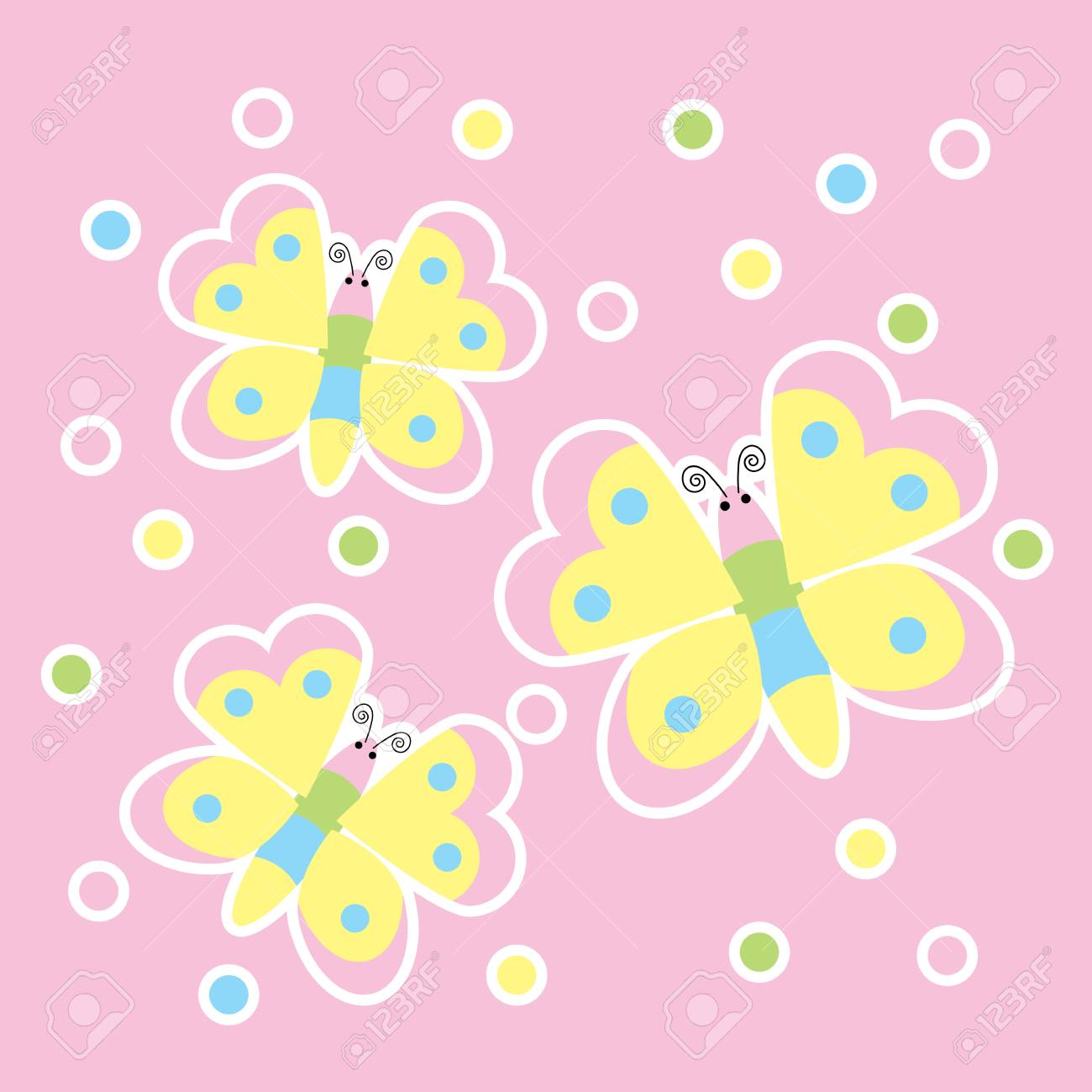 Spring Card With Cute Butterflies Suitable For Kid Postcard ...