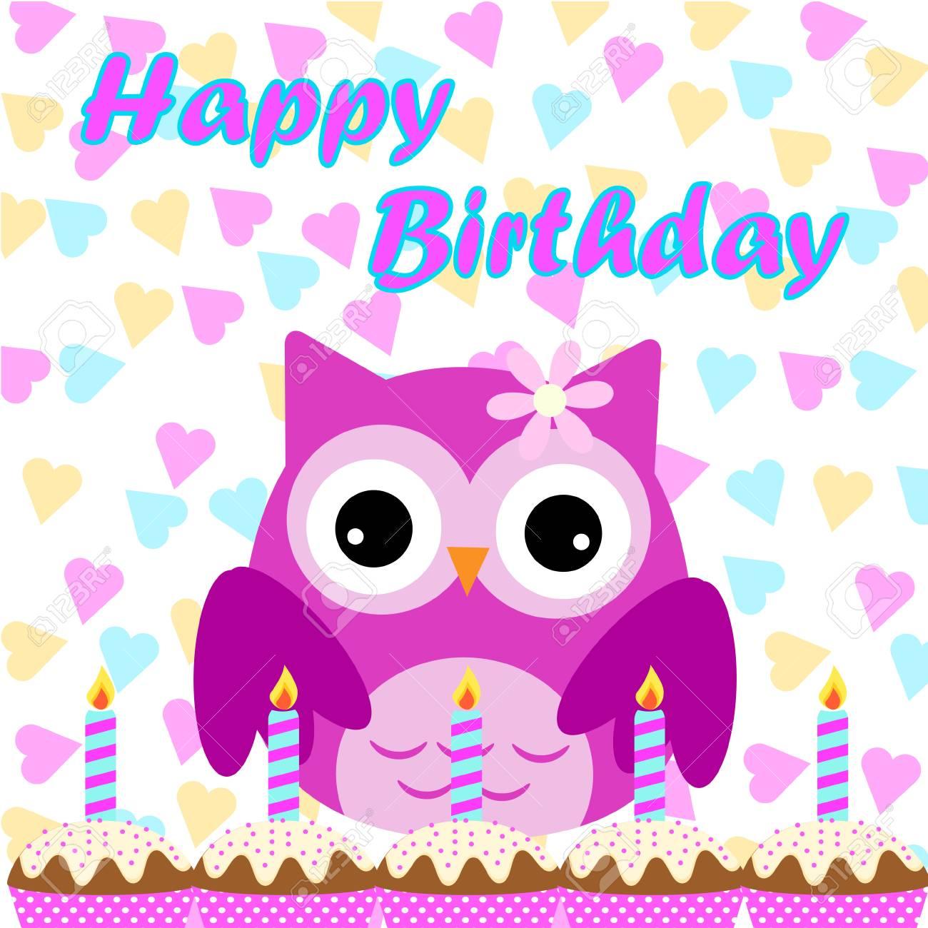 Tarjeta De Cumpleaños Con Lindo Búho Y Pastel De Cumpleaños Vector De Dibujos Animados Para La Invitación De Cumpleaños Del Niño Bandera Y Postal