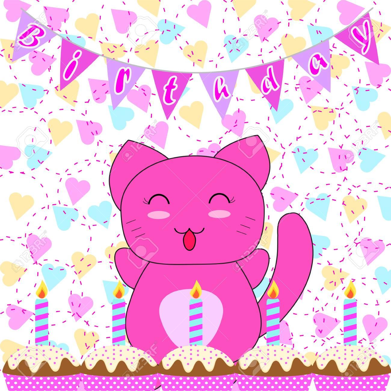 Carte d'invitation anniversaire avec des chats