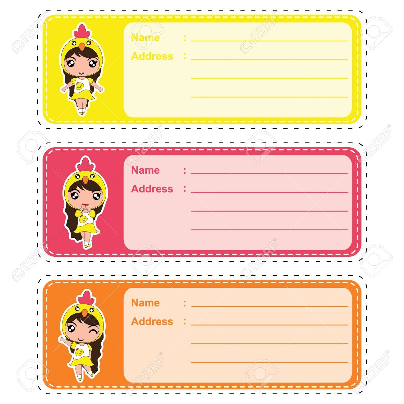 cute address label vector cartoon illustration with cute colorful