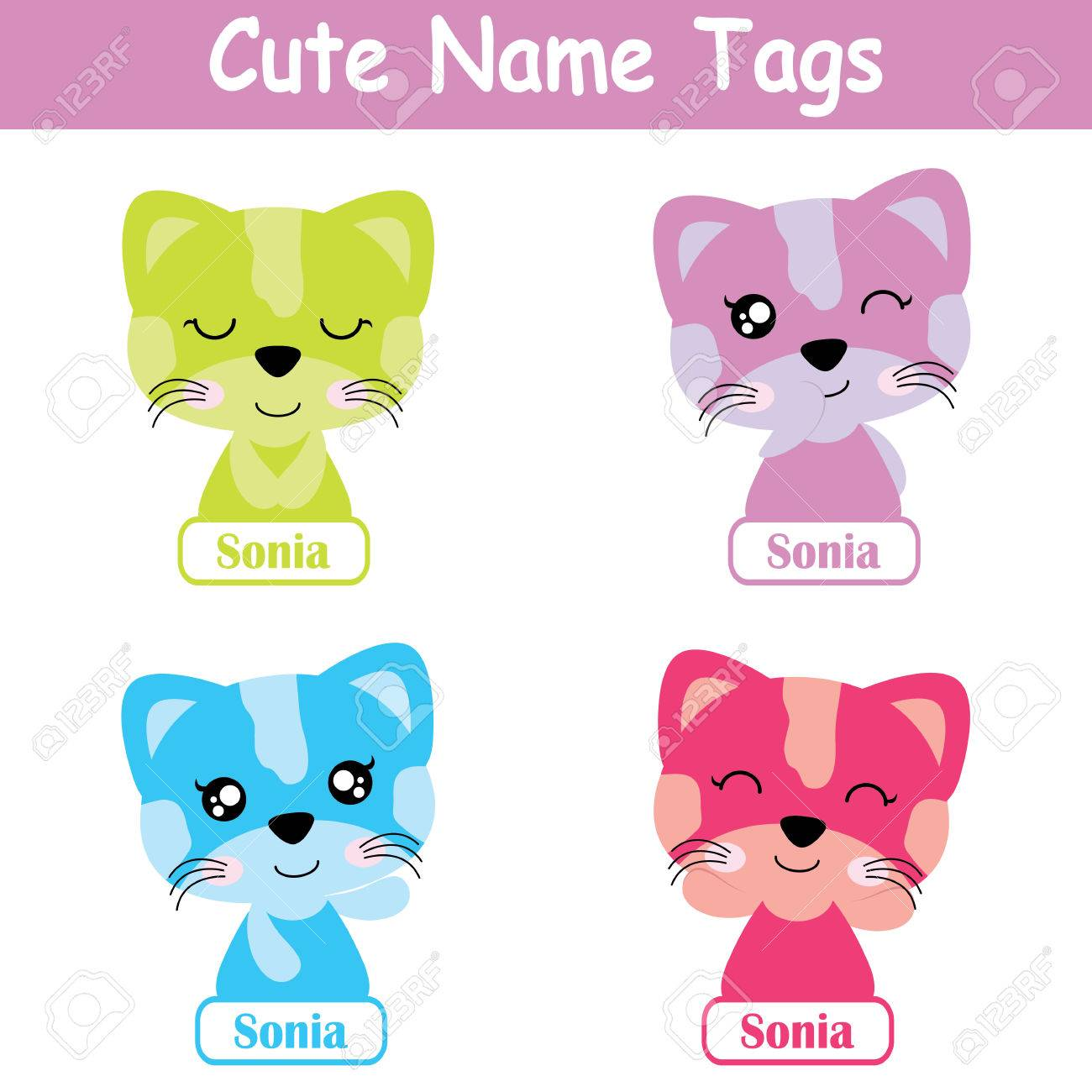 Name tag Vector cartoon of colorful cute cat girl suitable for