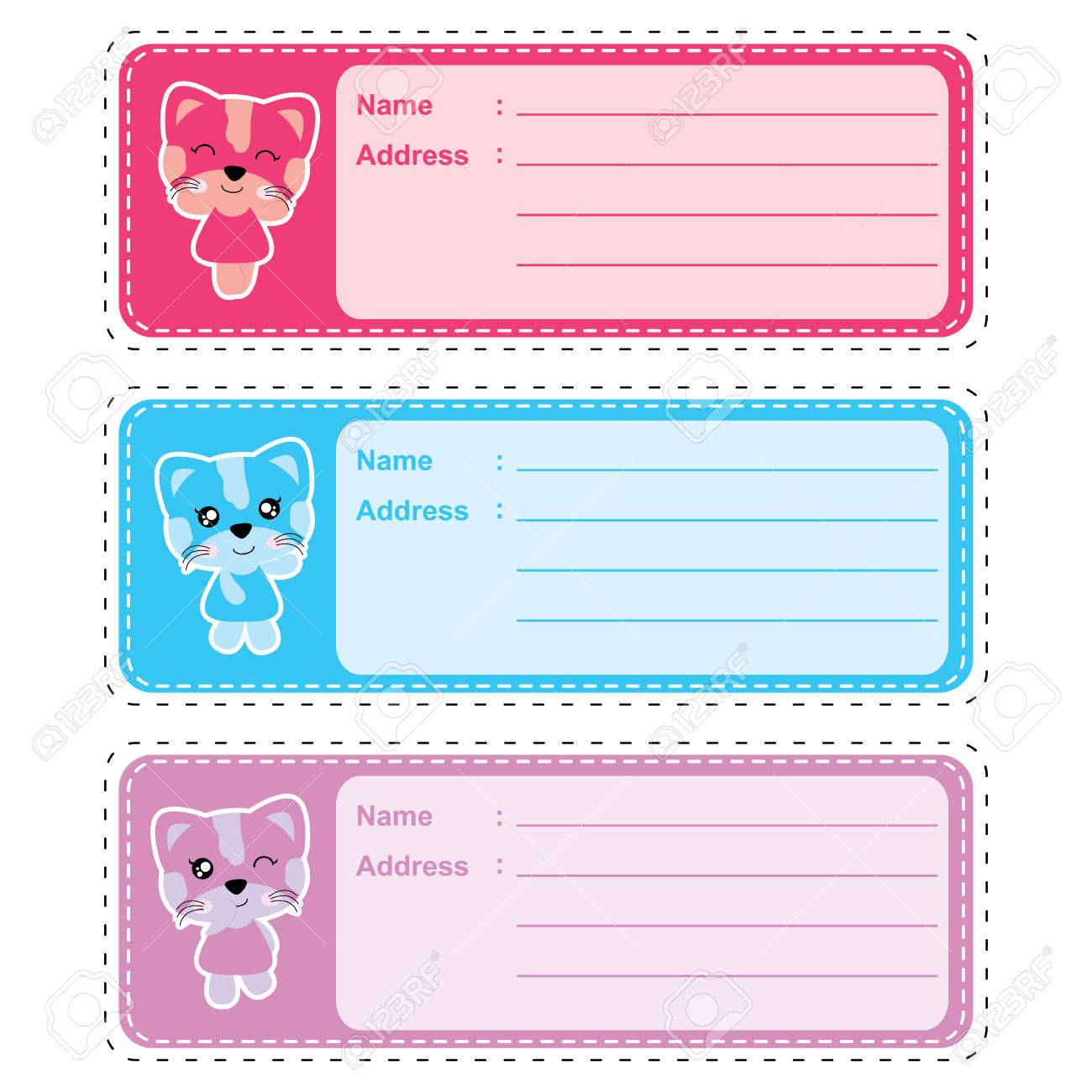 address label vector cartoon with cute colorful cat girl suitable
