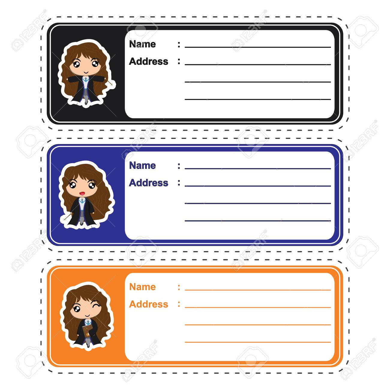 address label vector cartoon with cute witch girls on colorful