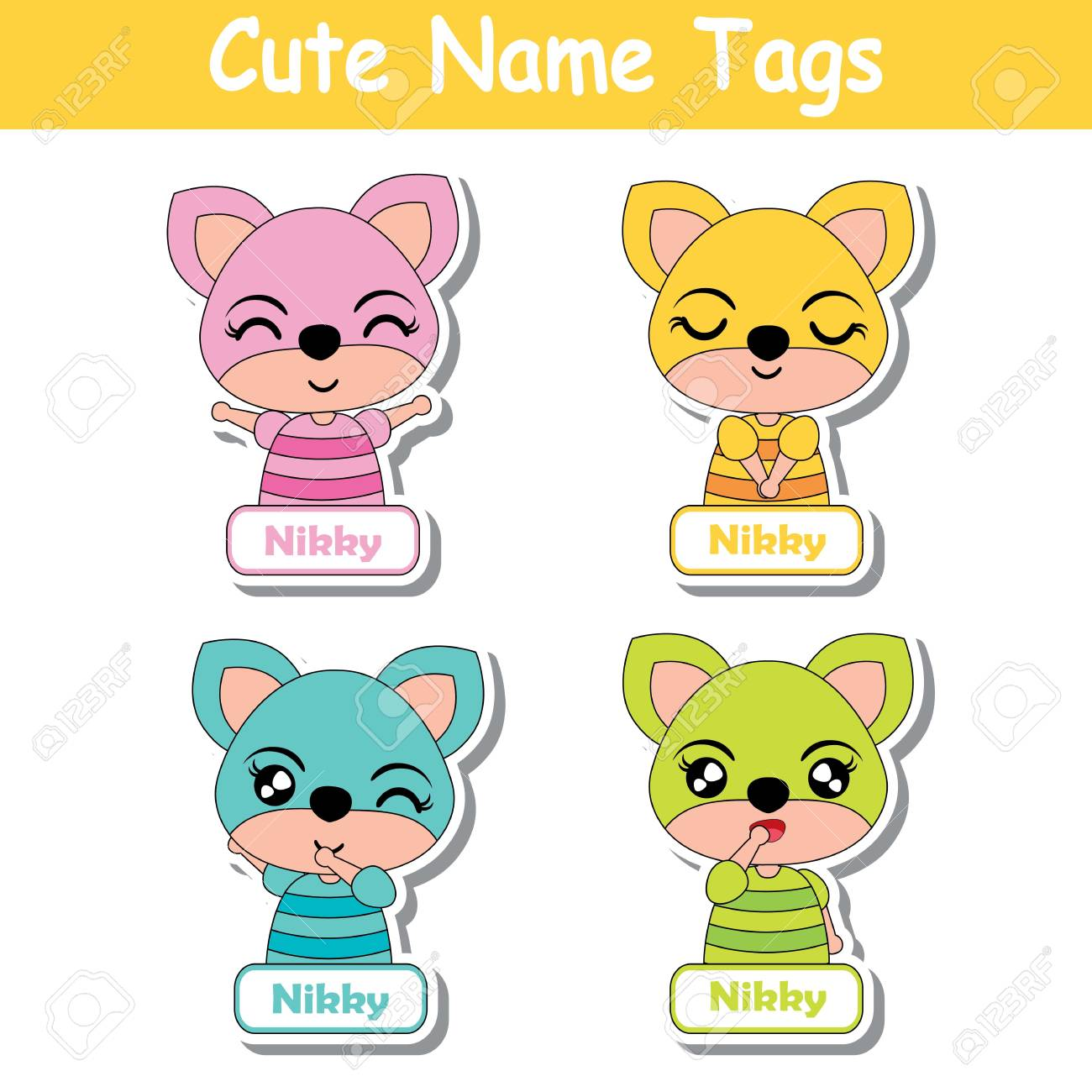 Name Tag Vector Cartoon Of Colorful Cute Fox Girls Suitable For
