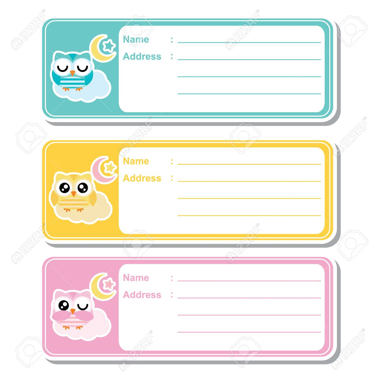 address label vector cartoon with cute owls on colorful background