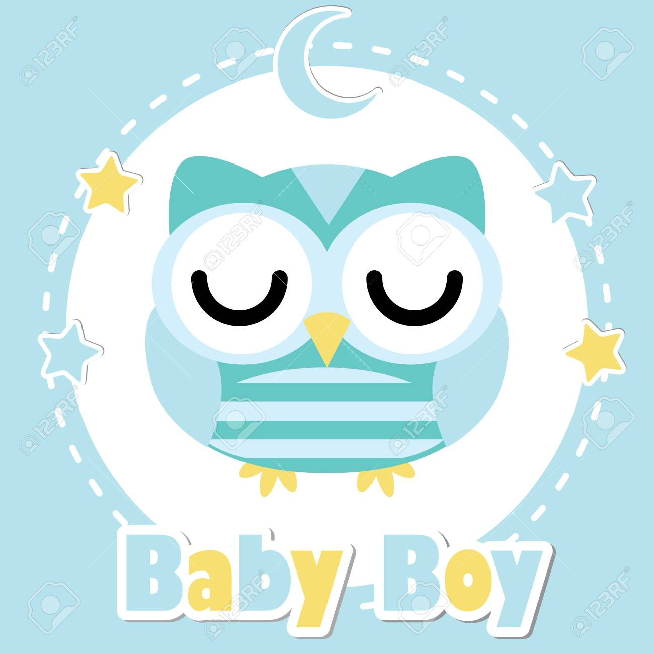 Baby shower invitation card design for boys, postcard and wallpaper with cute sleeping owl.