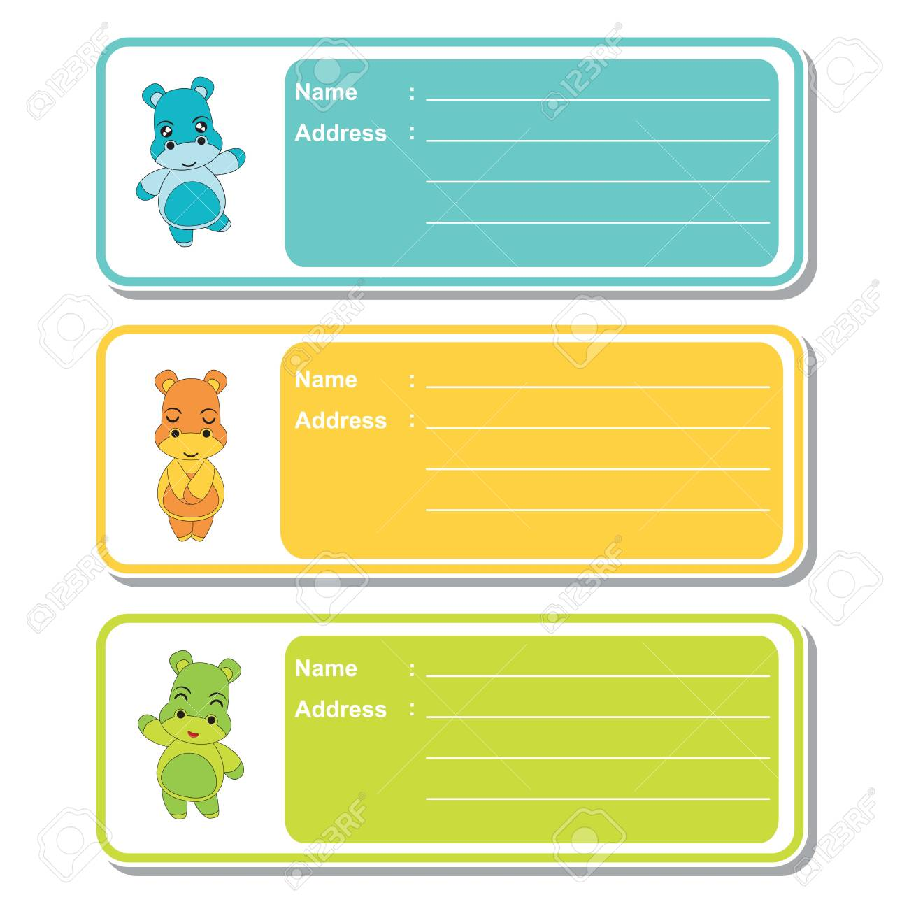 address label vector cartoon with cute hippo boys on colorful