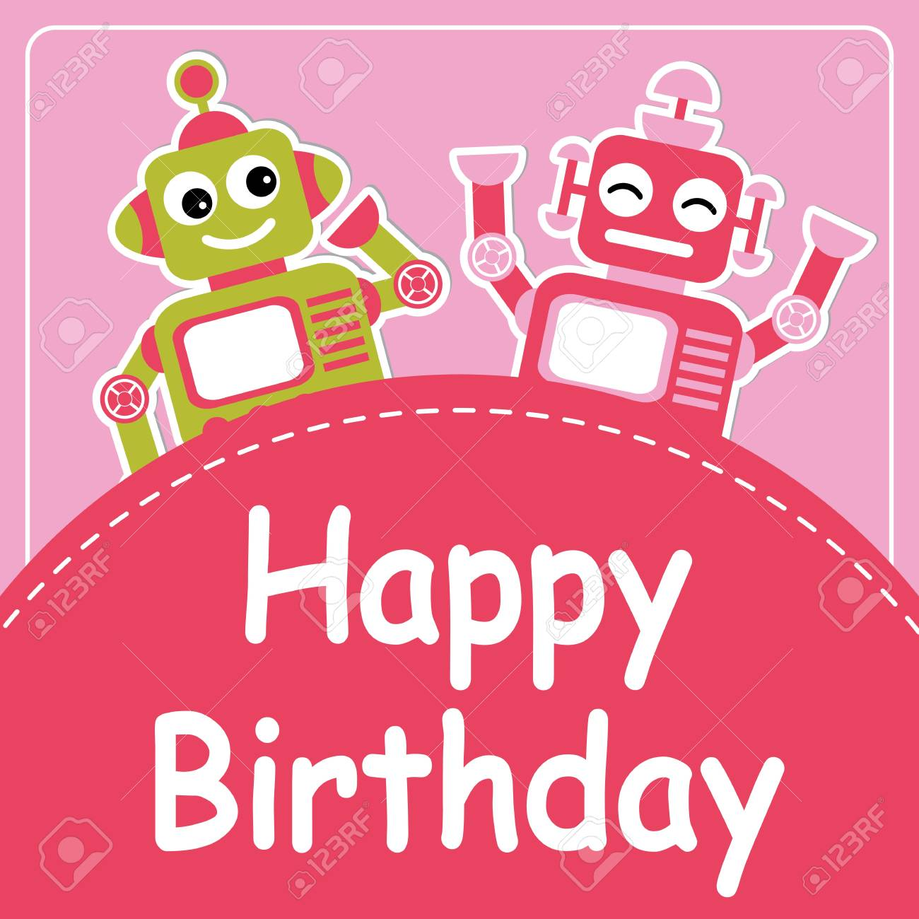 Vector Cartoon Illustration With Cute Two Robots On Pink Background