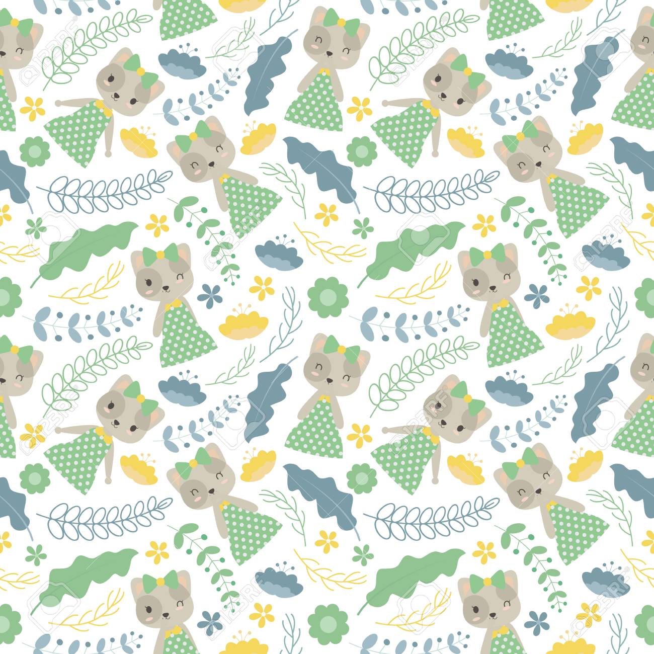 Seamless Pattern With Cute Cat And Flowers Vector Cartoon Suitable