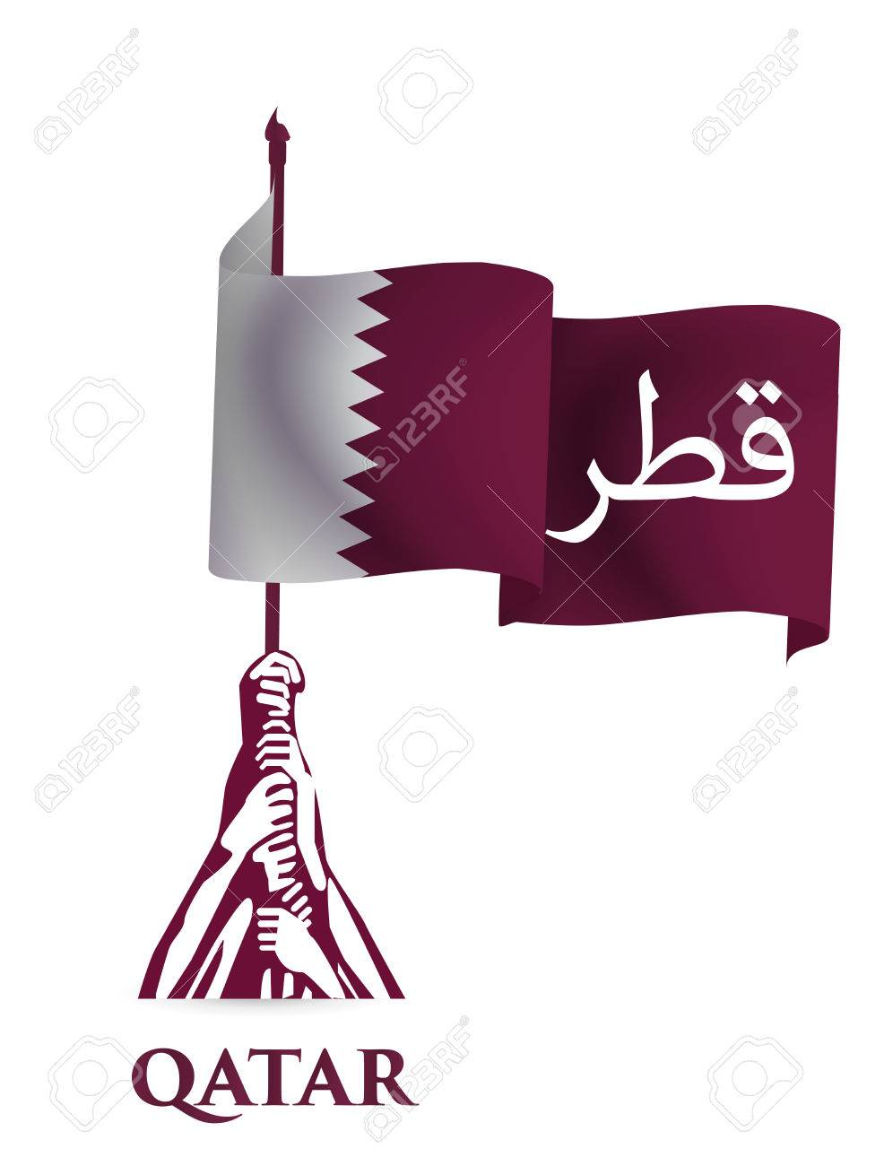 Flag of the State of Qatar for the celebration of the National