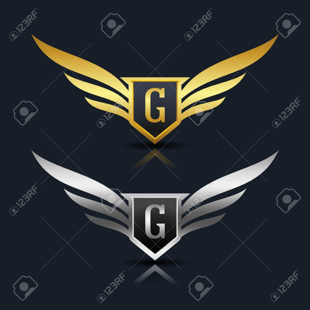 Wings Shield Letter G Logo Template Royalty Free Cliparts Vectors