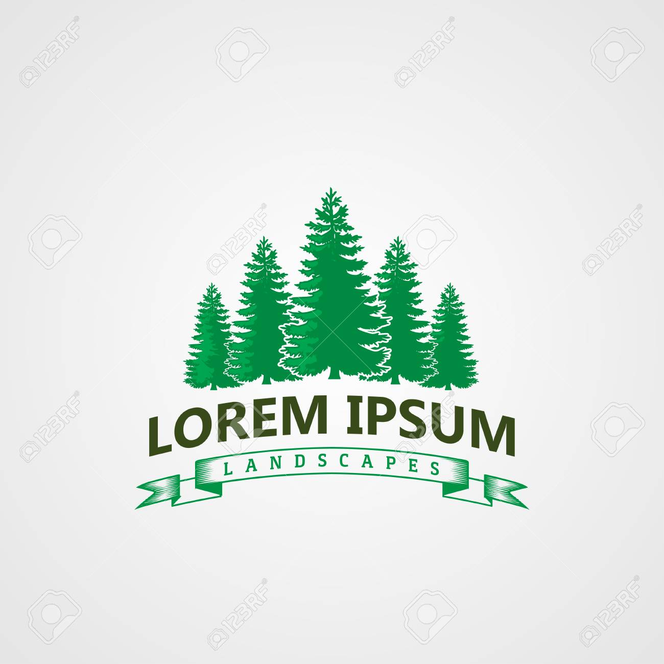 Creative Landscape Pines Tree Logo Concept Design Templates Stock Vector