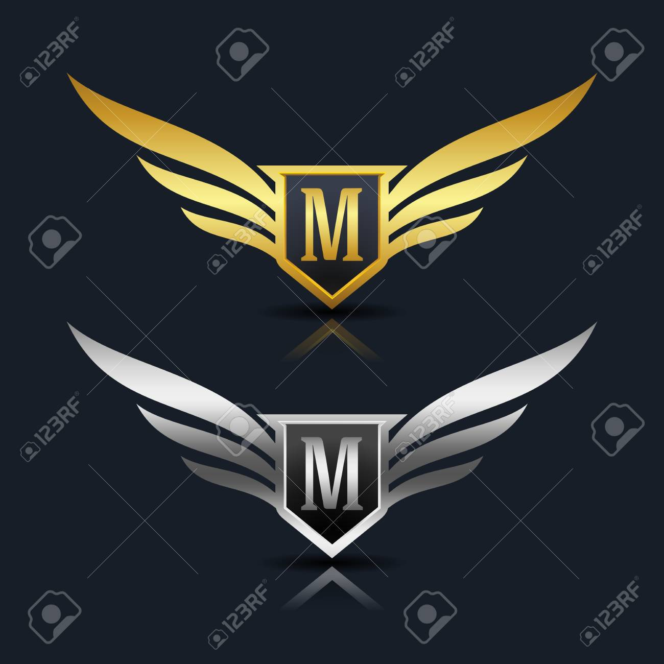 Wings Shield Letter M Logo Template Royalty Free Cliparts Vectors