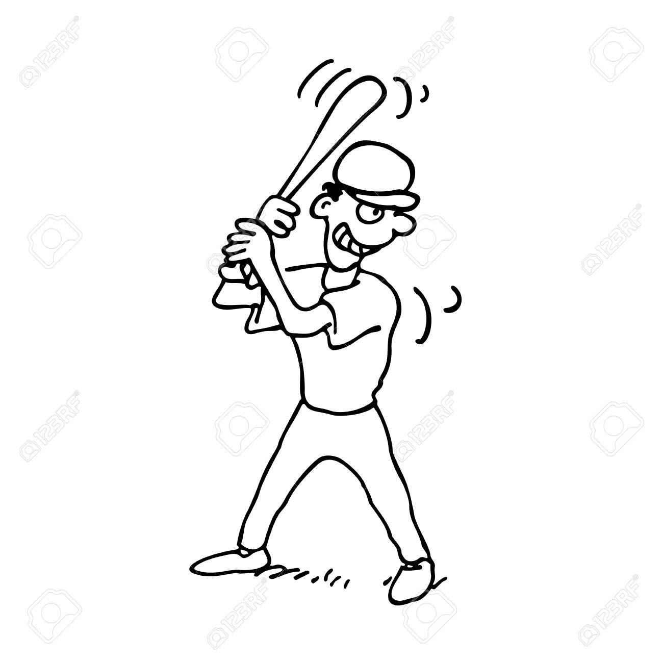 baseball players outlined cartoon on a white background vector rh 123rf com baseball art vector baseball glove vector art