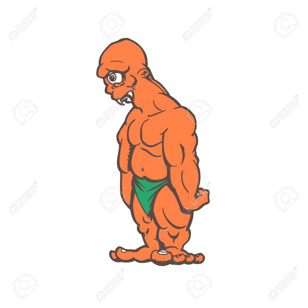cyclops monster cartoon character on a white background vector
