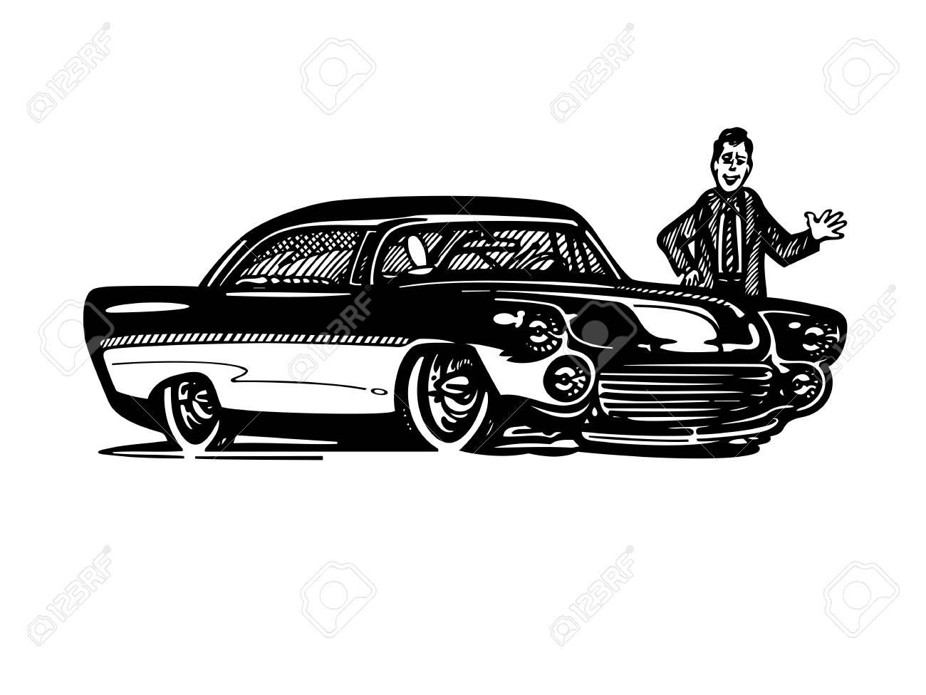 レトロなホットロッド車アート漫画イラストをベクトルしますビンテージ