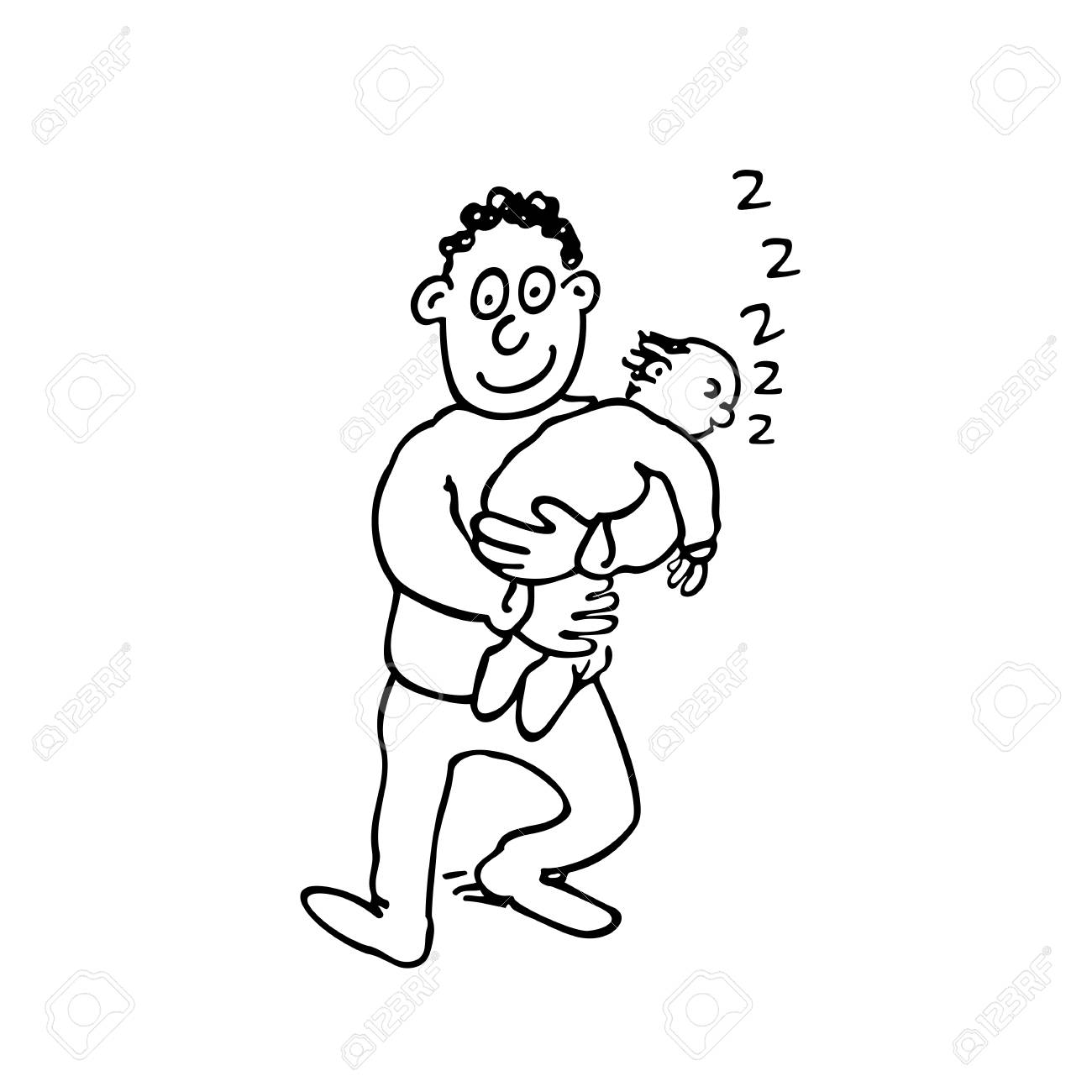 Dad Is Holding His Sleeping Baby