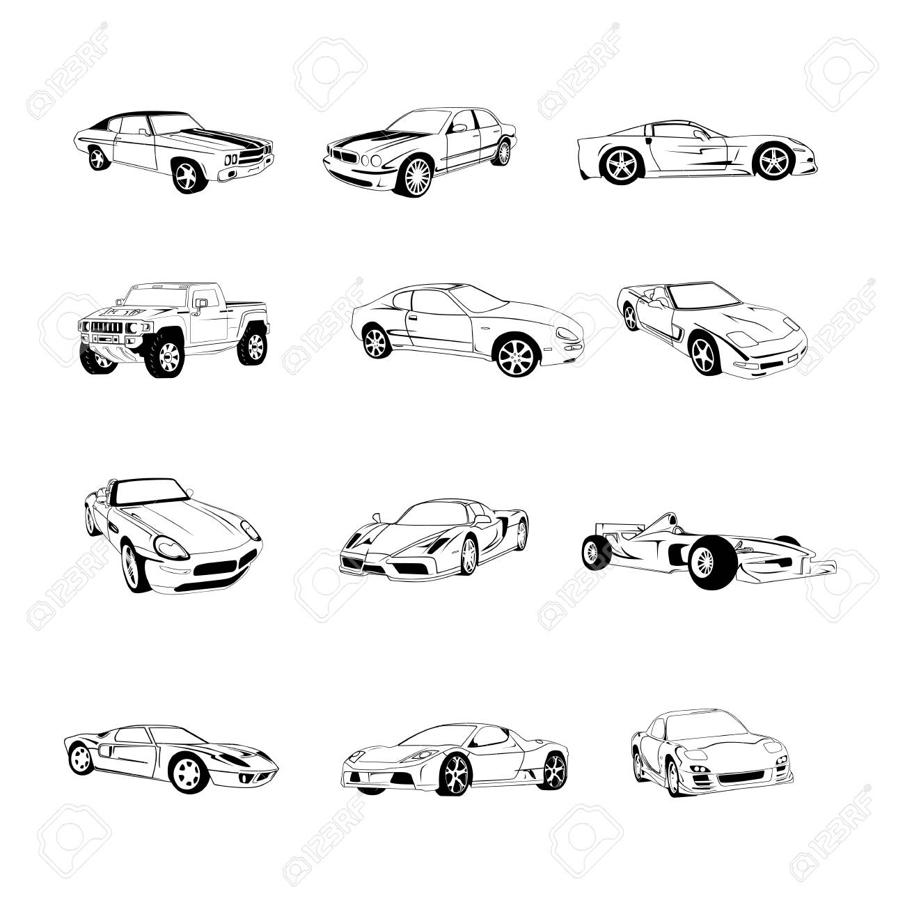 Sport Old Fast Cars Clipart Cartoon Collection. Vector Illustration ...