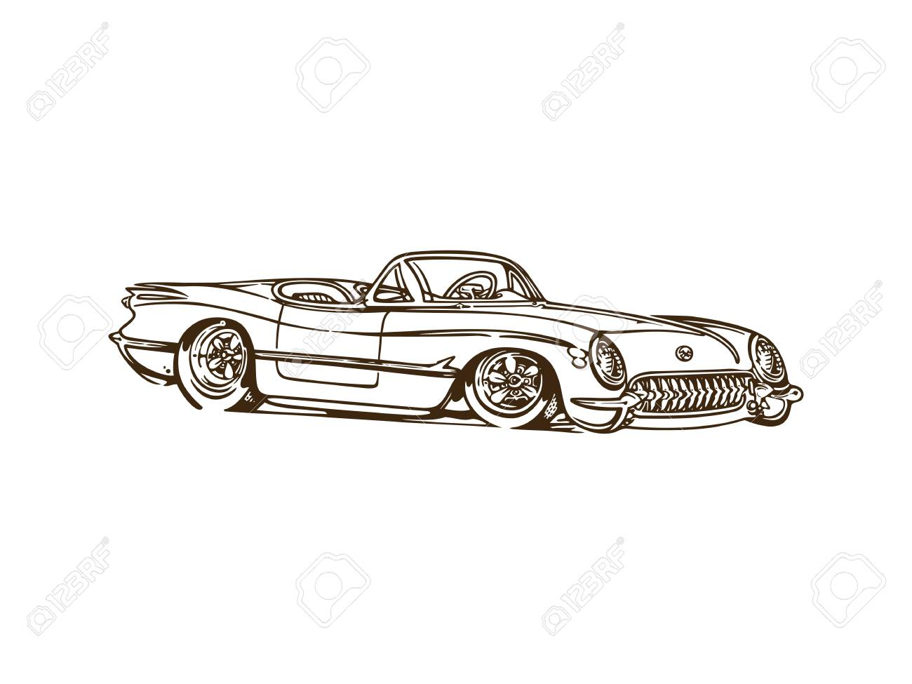 Vintage Muscle Cars Inspired Cartoon Sketch. Vector Abstract ...