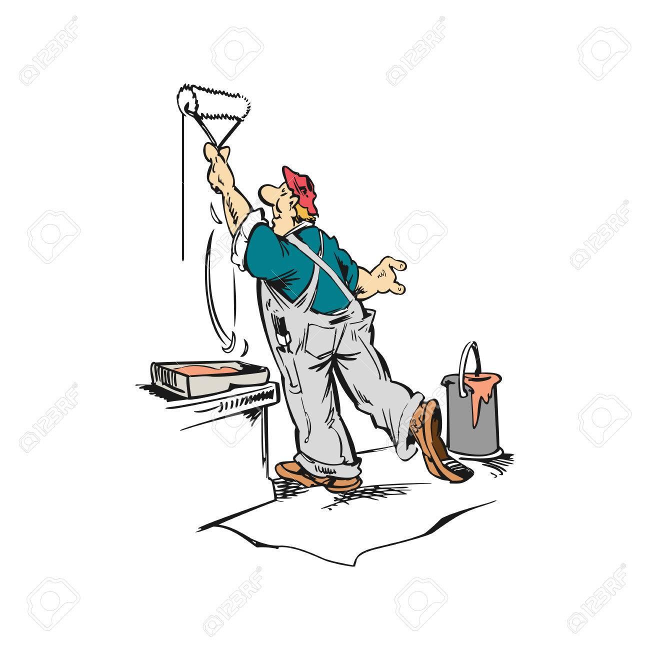 Banque Du0027images   Homme Ouvrier Peinture Mur Dessin Animé Illustration  Vecteur