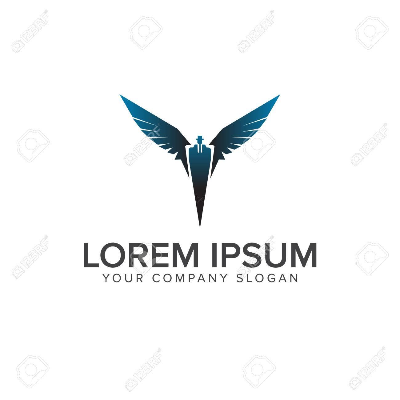 Superheld Geschäftsmann Fliegen Logo Design Konzept Vorlage ...