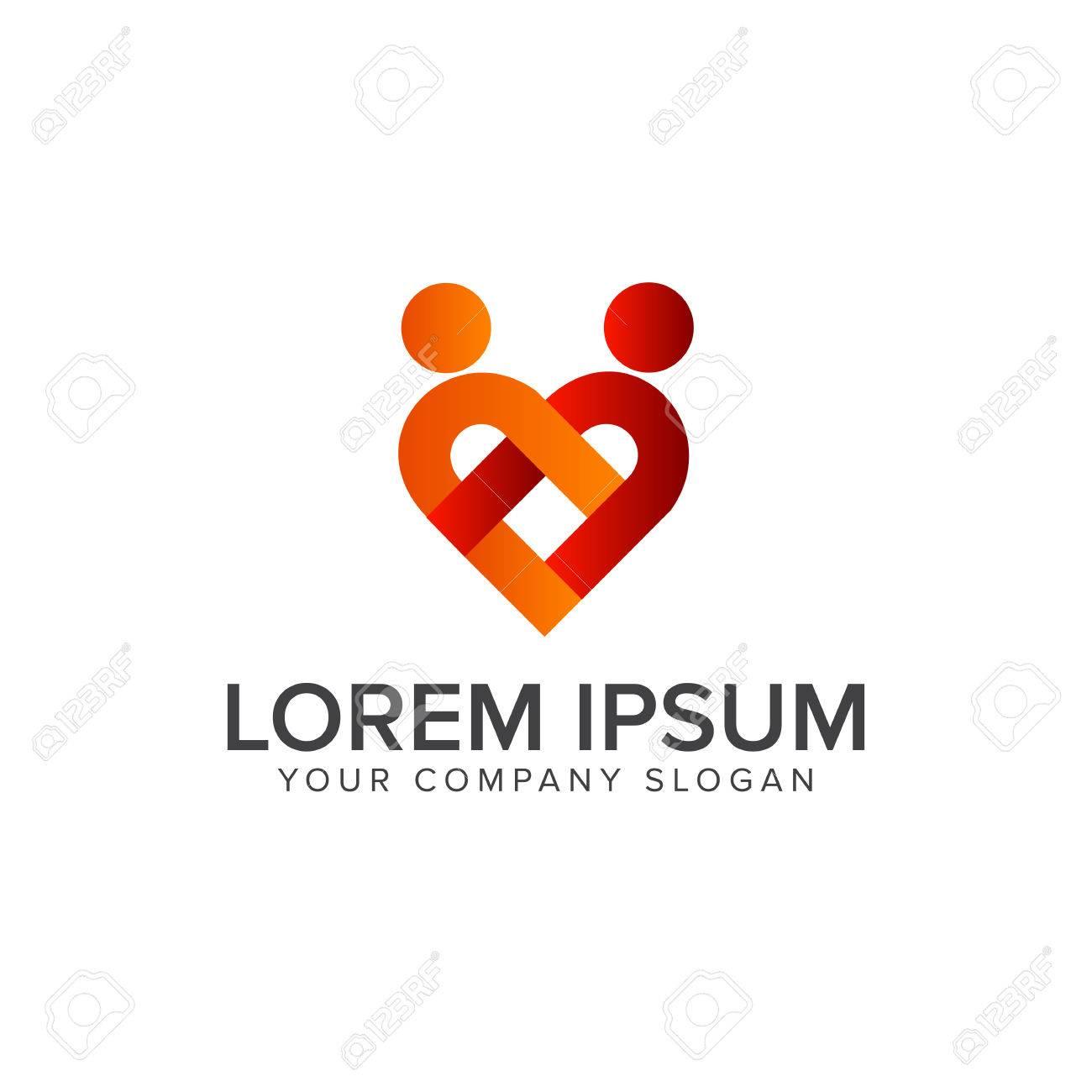 couple people love logo design concept template stock vector 82888655