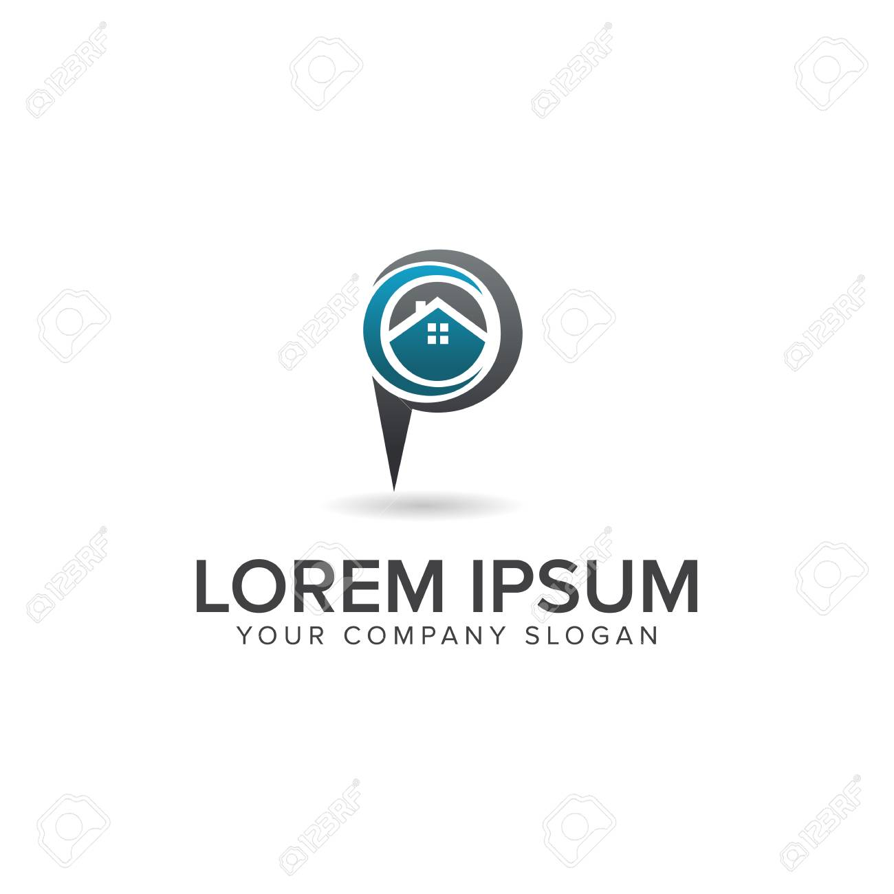 House Location Logo Real Estate Logo Design Concept Template