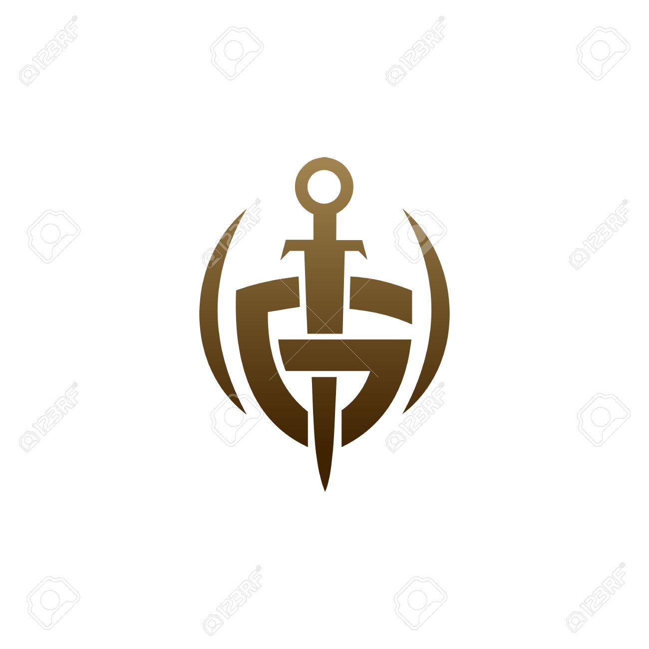 letter g shield sword logo security logo design concept template stock vector 82888922