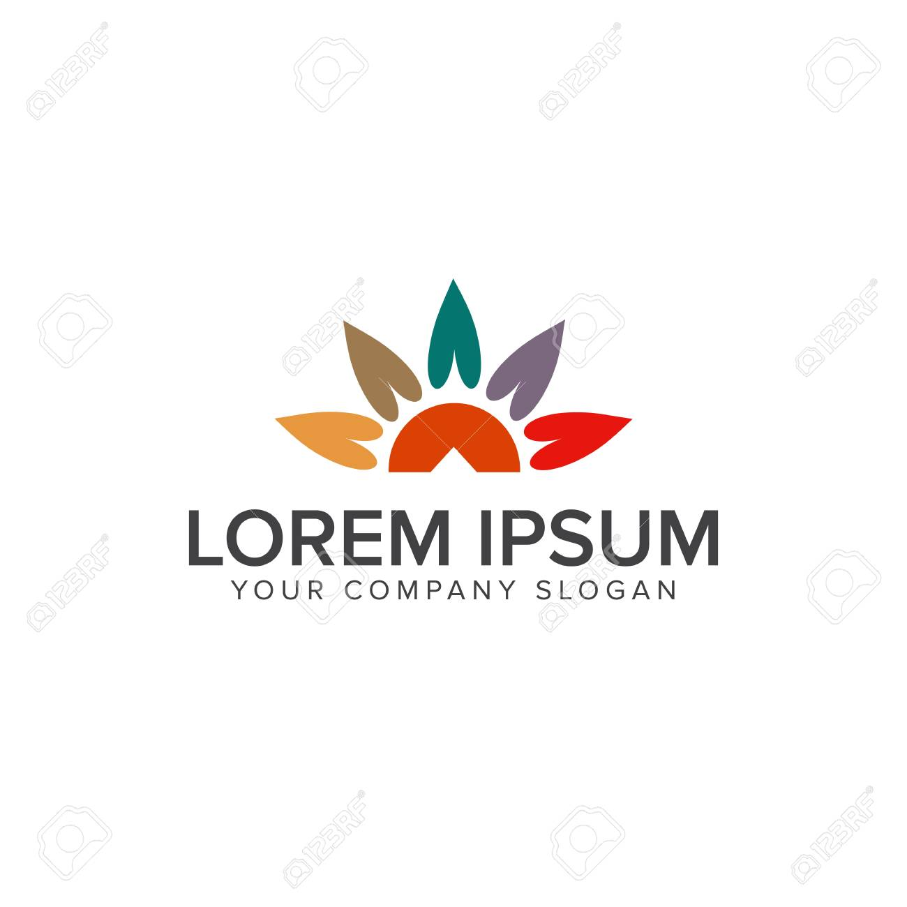 Sun Leaf Logo Design Concept Template Royalty Free Cliparts, Vectors ...