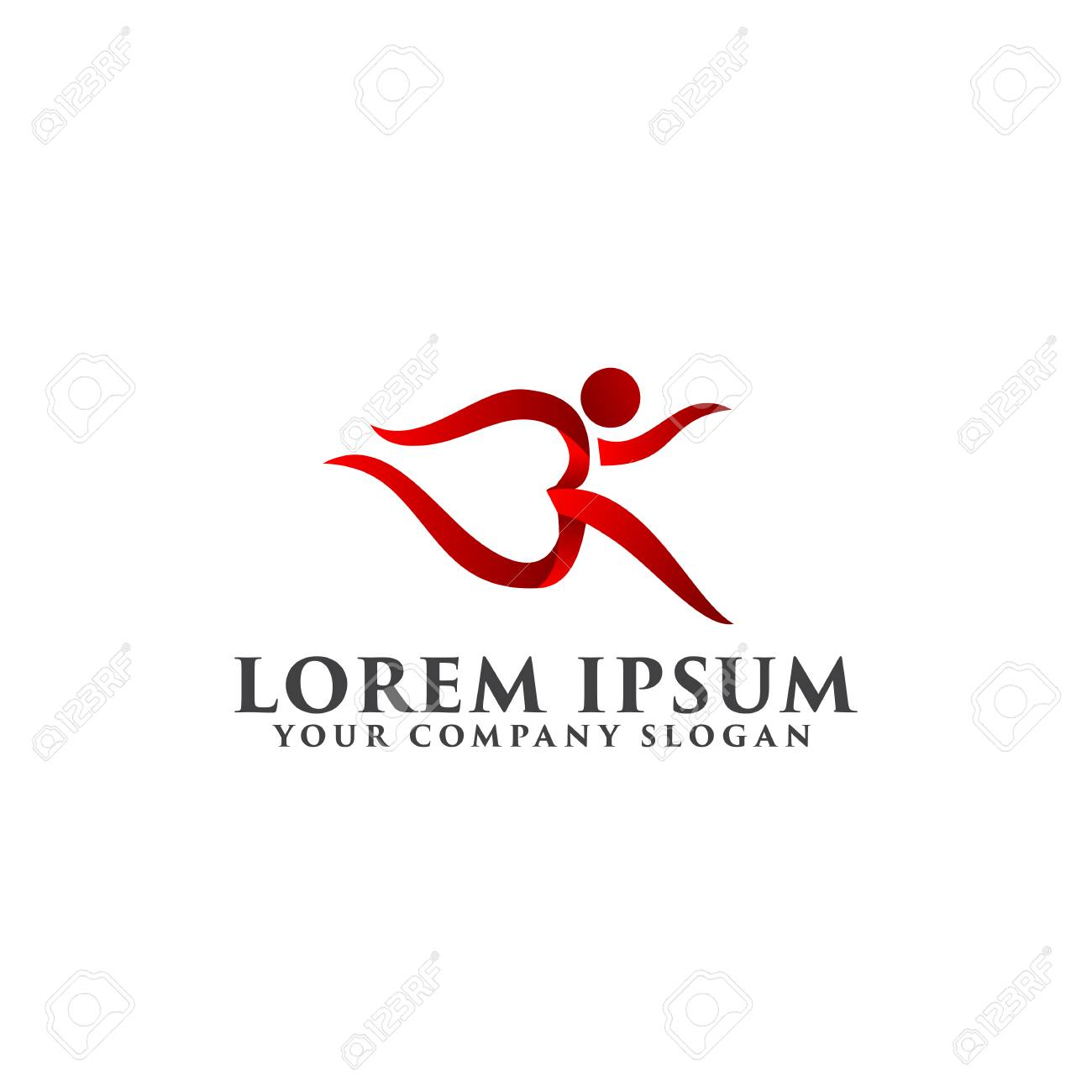 run people logo sports logo design concept template royalty free