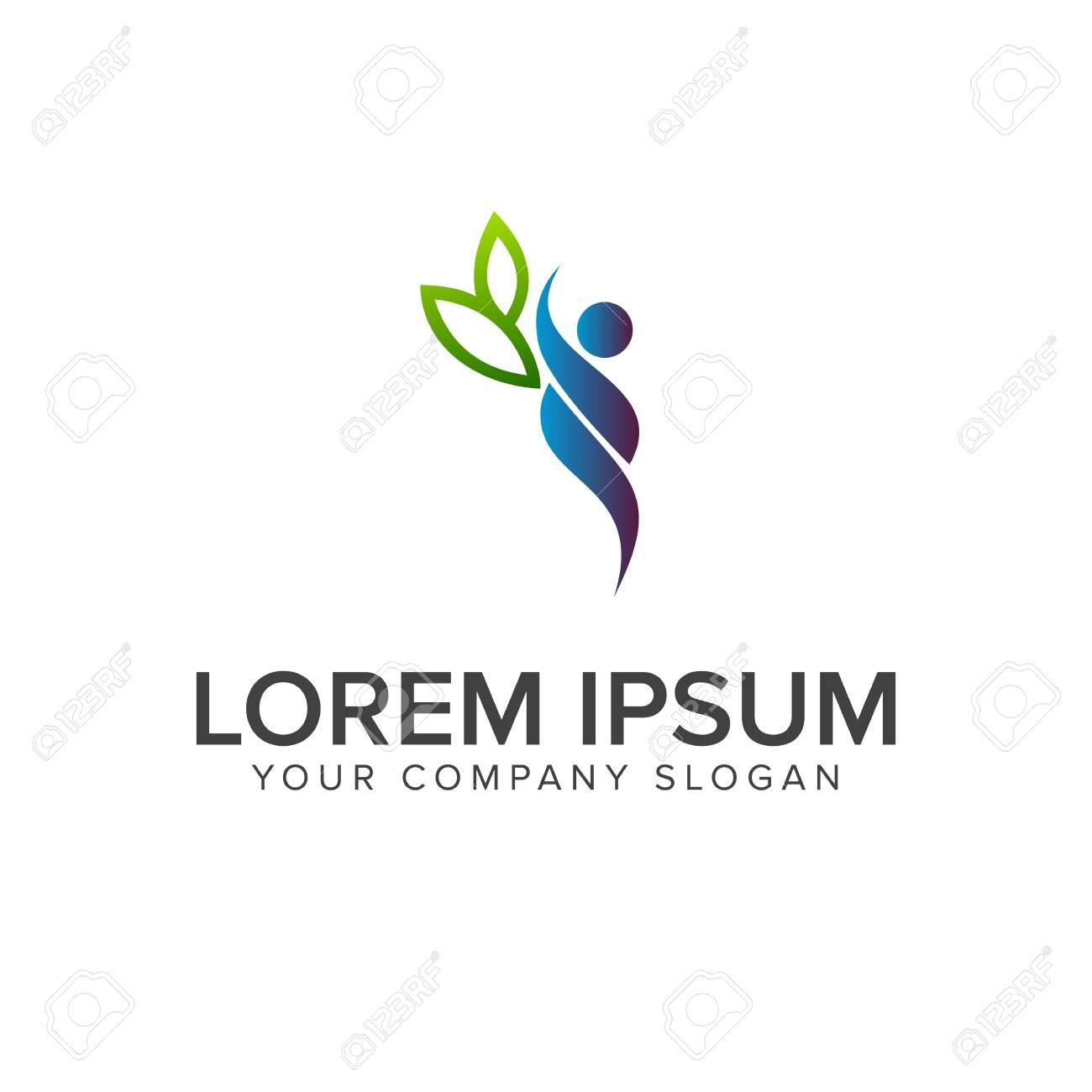 people leaf logo design concept template - 83305362