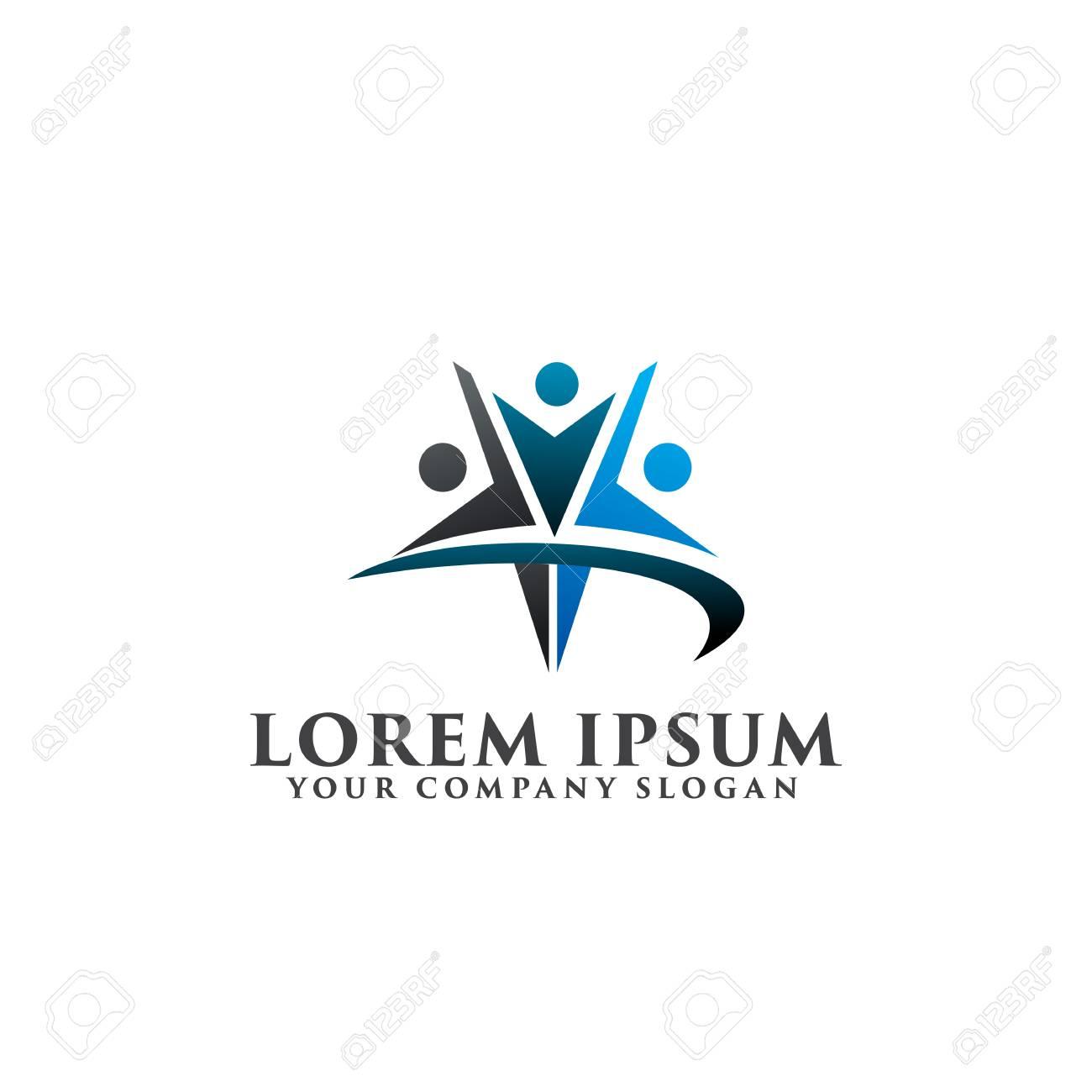 star people Logos. success people logo design concept template - 83305483